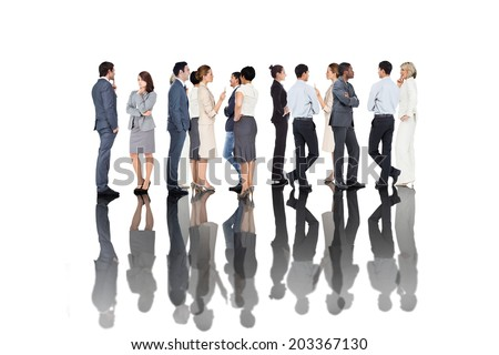 Many business people standing in a line on white background - stock photo