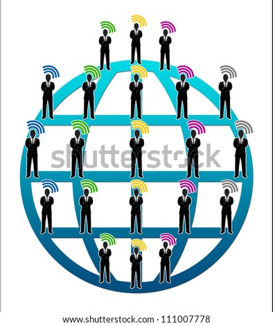 Many Businessman Connected With Wifi Sign in Global Network Isolated On White Background For Computer Network Concept