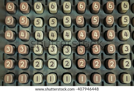 Many button with number , vintage tone