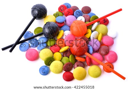 Many candy and colorful isolated on white background . - stock photo