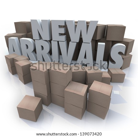 Many cardboard boxes with the words New Arrivals to illustrate products, merchandise or other items for sale arriving at a store or online seller - stock photo