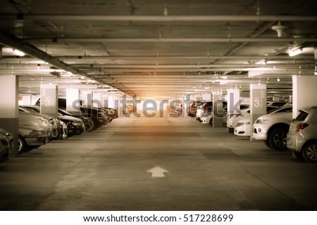 Many Cars In Parking Garage Interior Industrial Building Vintage Filter Effect