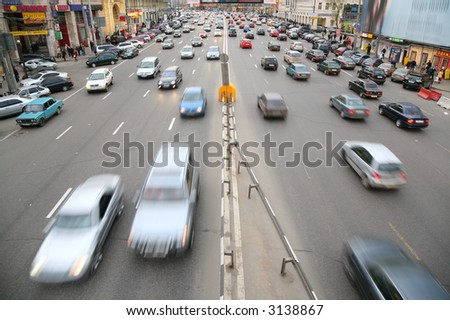 many cars on big moscow road - stock photo