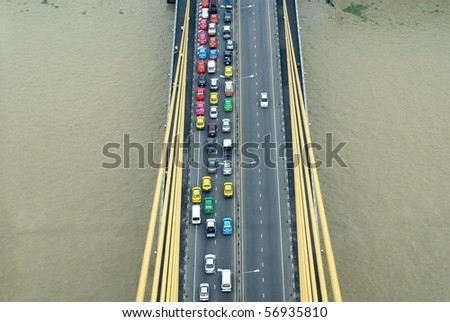 many cars on road form above, thailand - stock photo