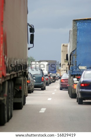 Many cars stopped on European road