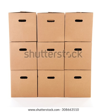 Many carton boxes isolated over white background - stock photo
