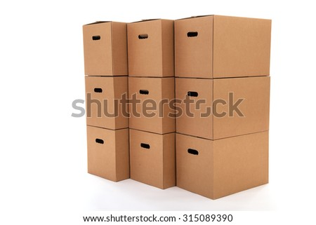 Many carton boxes isolated over white background - stock photo