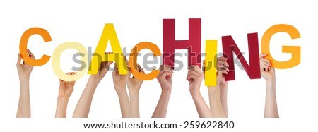Many Caucasian People And Hands Holding Colorful  Letters Or Characters Building The Isolated English Word Coaching On White Background - stock photo