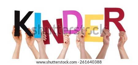 Many Caucasian People And Hands Holding Colorful  Letters Or Characters Building The Isolated German Word Kinder Which Means Kids On White Background - stock photo