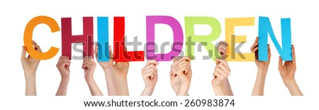 Many Caucasian People And Hands Holding Colorful Straight Letters Or Characters Building The Isolated English Word Children On White Background - stock photo