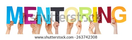 Many Caucasian People And Hands Holding Colorful Straight Letters Or Characters Building The Isolated English Word Mentoring On White Background - stock photo