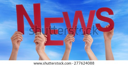 Many Caucasian People And Hands Holding Red Letters Or Characters Building The English Word News On Blue Sky - stock photo