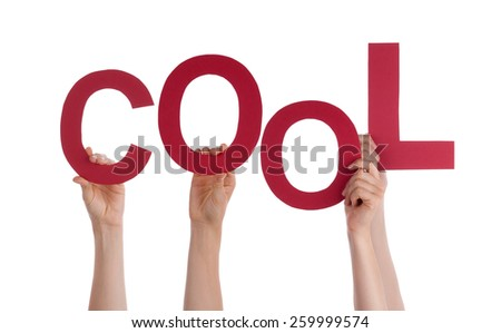 Many Caucasian People And Hands Holding Red Letters Or Characters Building The Isolated English Word Cool On White Background - stock photo
