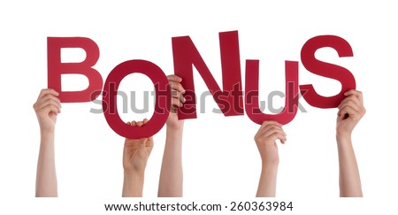 Many Caucasian People And Hands Holding Red Letters Or Characters Building The Isolated English Word Bonus On White Background - stock photo