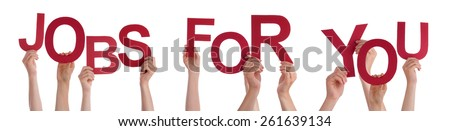 Many Caucasian People And Hands Holding Red Letters Or Characters Building The Isolated English Word Jobs For You On White Background - stock photo