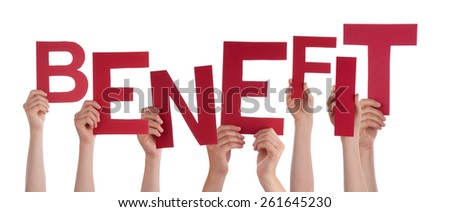 Many Caucasian People And Hands Holding Red Letters Or Characters Building The Isolated English Word Benefit On White Background - stock photo