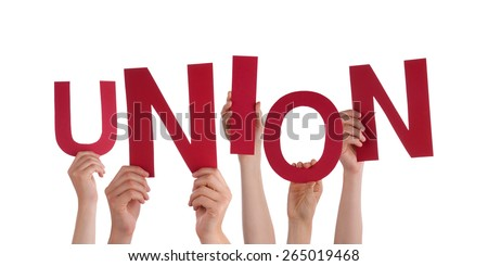 Many Caucasian People And Hands Holding Red Letters Or Characters Building The Isolated English Word Union On White Background - stock photo