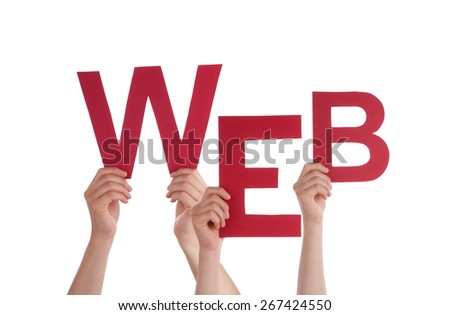 Many Caucasian People And Hands Holding Red Letters Or Characters Building The Isolated English Word Web On White Background - stock photo