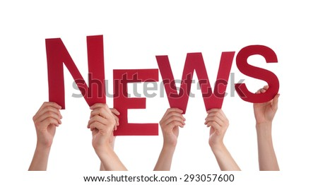 Many Caucasian People And Hands Holding Red  Letters Or Characters Building The Isolated English Word News On White Background - stock photo