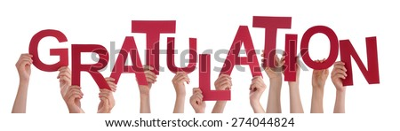 Many Caucasian People And Hands Holding Red Letters Or Characters Building The Isolated German Word Gratulation Which Means Congratulation On White Background - stock photo