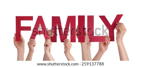 Many Caucasian People And Hands Holding Red Straight Letters Or Characters Building The Isolated English Word Family On White Background - stock photo