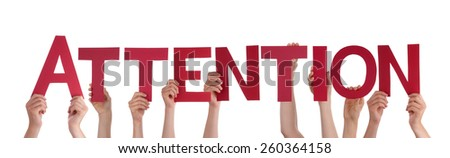 Many Caucasian People And Hands Holding Red Straight Letters Or Characters Building The Isolated English Word Attention On White Background - stock photo