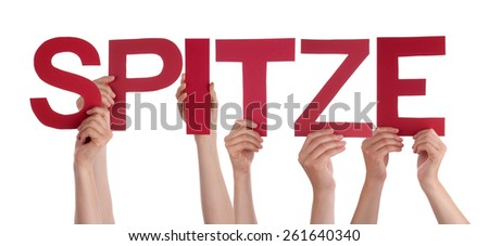 Many Caucasian People And Hands Holding Red Straight Letters Or Characters Building The Isolated German Word Spitze Which Means Super On White Background - stock photo