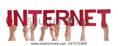 Many Caucasian People And Hands Holding Red Straight Letters Or Characters Building The Isolated English Word Internet On White Background - stock photo