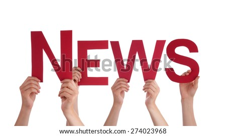 Many Caucasian People And Hands Holding Red Straight Letters Or Characters Building The Isolated English Word News On White Background - stock photo