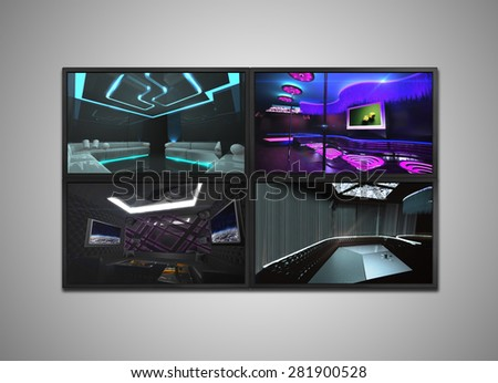 many cctv signal showing on the monitor display, it is representing the security