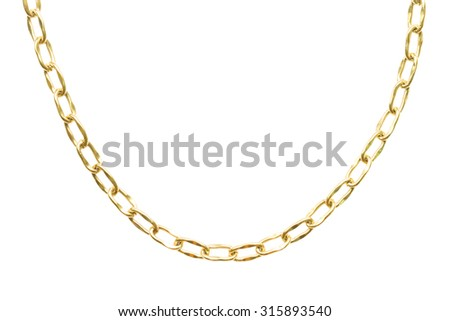 Many chains golden metallic necklace. Personal fashion accessory design.