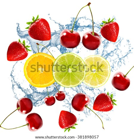 Many cherries, strawberries, orange, lemon and lime on white background with water splash