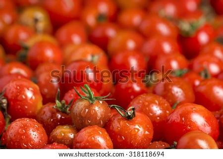 many cherry tomatoes red juicy beautiful food - stock photo