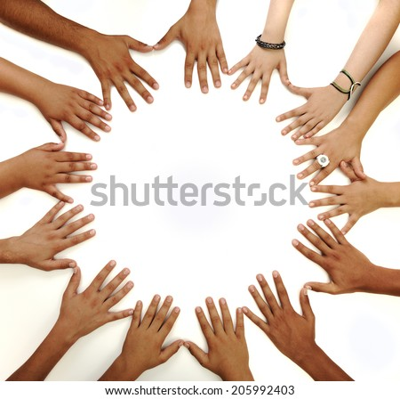 Many children hands and fingers in circle