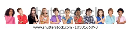 Many children isolated on a white background