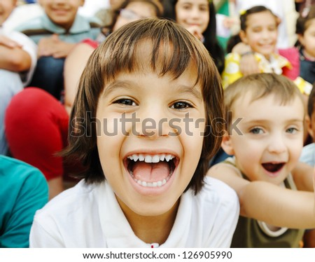 Many children portrait - stock photo