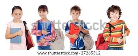 Many children students returning to school on a white background - stock photo