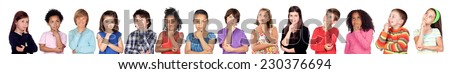 Many children thinking isolate on a white background