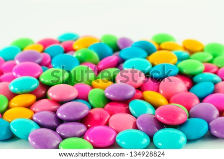 many chocolate colorful candy favor sweet taste.