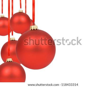 Many Christmas ornaments on a white background