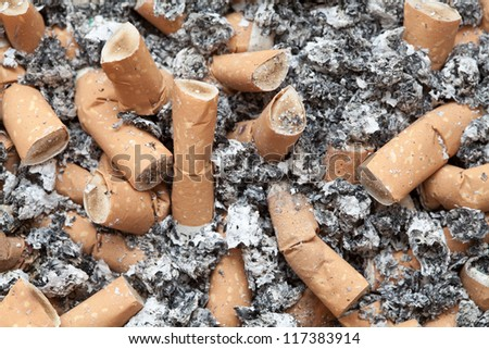 Many cigarette butts background - stock photo