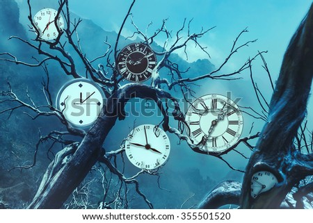 Many clocks on old trees