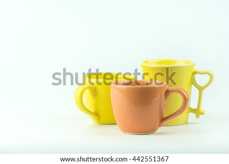Many Coffee mugs on a white background.