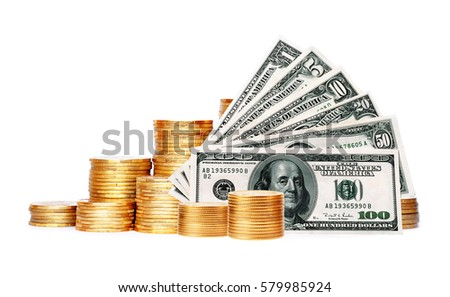 Many coins in column and dollars isolated on white background