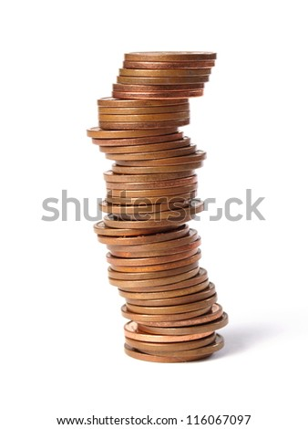 Many coins of 5 cents stacked in a tower and isolated on white background