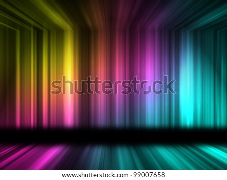 Many color lines with 3d effect of room - stock photo