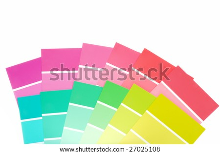 many color paint chips - stock photo