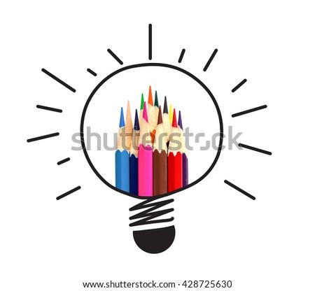 many color pencil in light bulb idea on white, idea and teamwork concept. - stock photo
