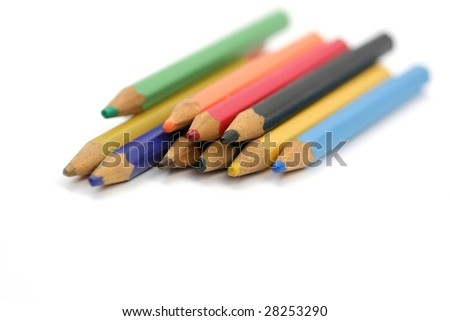 many color pencils in line