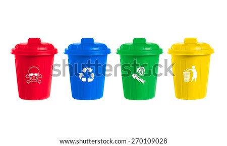 many color wheelie bins set with waste icon, illustration of waste management concept - stock photo